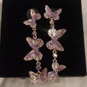 Betsey Johnson Butterfly Drop and Dangle Earrings